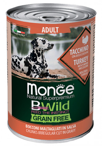 Monge Dog BWild Grain Free консервы для собак всех пород, индейка с тыквой и кабачками, 400 г